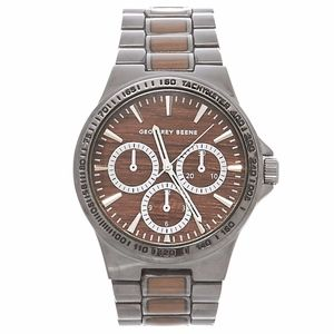 Geoffrey Beene wood gunmetal chonograph watch